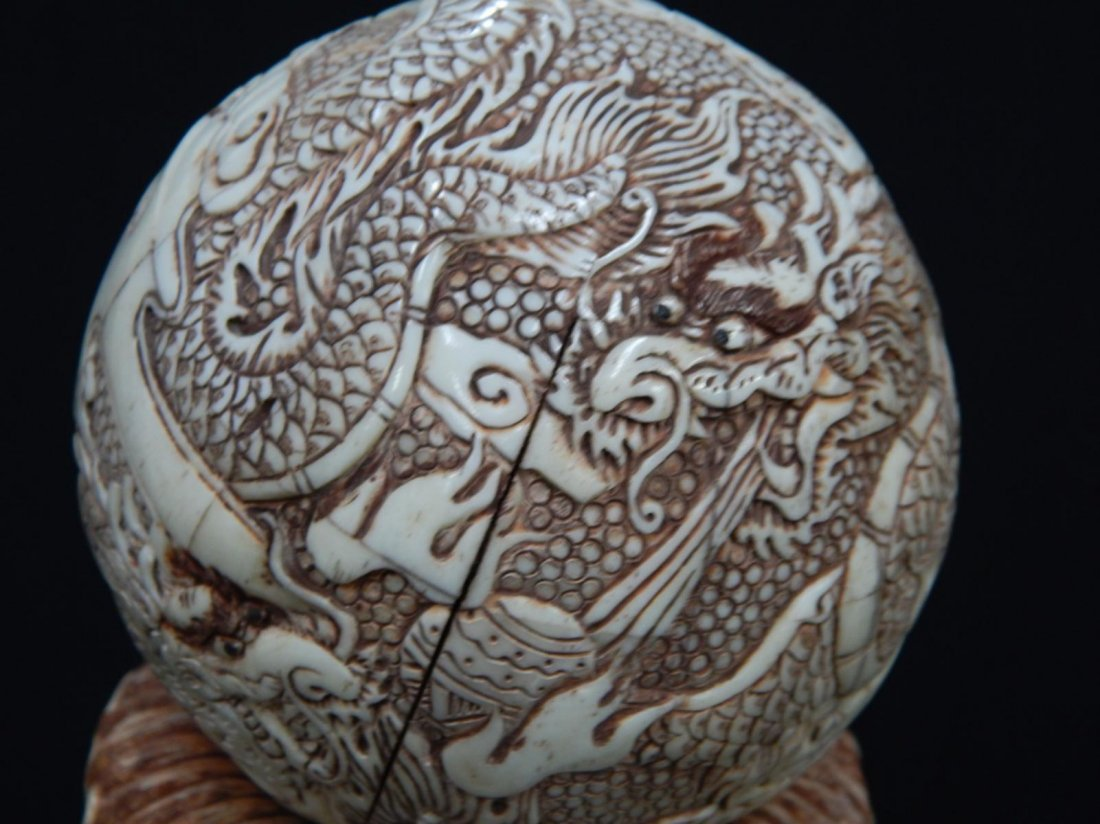 CHINESE CARVED BONE DRAGON HOLDING BALL SCULPTURE - 4