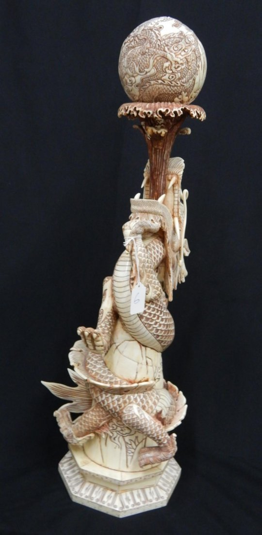 CHINESE CARVED BONE DRAGON HOLDING BALL SCULPTURE - 5