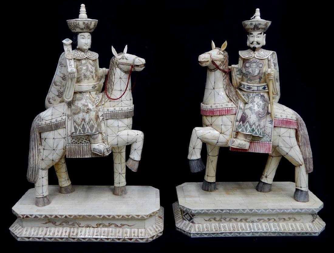 Pr CHINESE CARVED BONE EMPEROR & EMPRESS ON HORSES