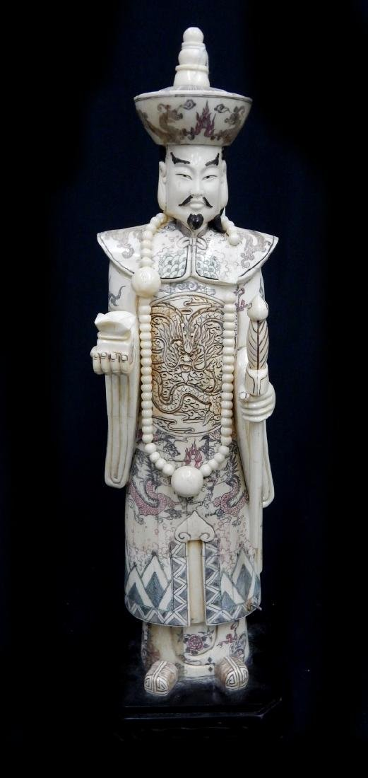 CHINESE CARVED BONE STANDING EMPEROR FIGURE ON BAS