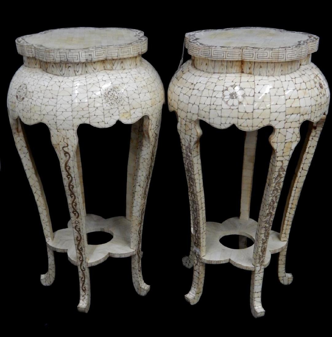 PAIR OF CHINESE CARVED BONE ROUND PEDESTAL TABLES