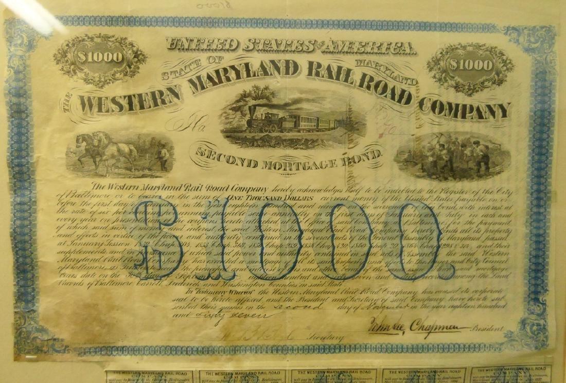 1867 $1000 W MARYLAND RAILROAD 2nd MORTGAGE BOND