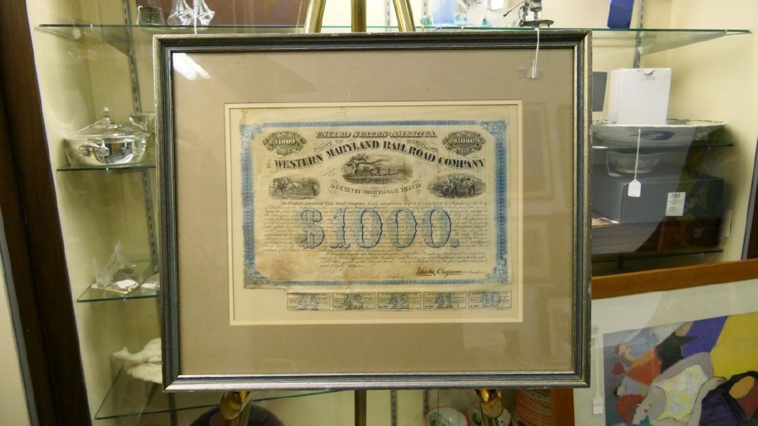 1867 $1000 W MARYLAND RAILROAD 2nd MORTGAGE BOND - 2