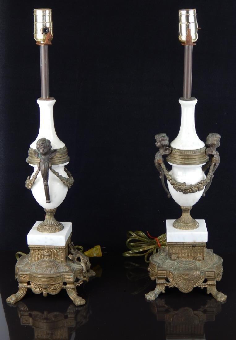 Pr VINTAGE ITALIAN GILT BRONZE & MARBLE LAMPS