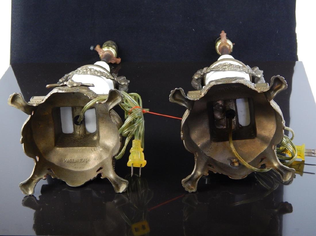 Pr VINTAGE ITALIAN GILT BRONZE & MARBLE LAMPS - 5