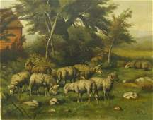 19th CENTURY A. ROSS SHEEP OIL PAINTING ON CANVAS