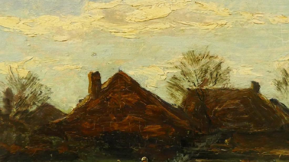 G DERKSEN (DUCTH 1870-1920) COTTAGE LANDSCAPE OIL - 3
