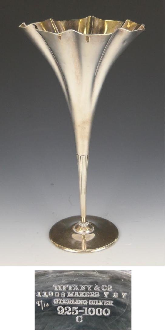 TIFFANY & COMPANY STERLING SILVER TRUMPET VASE