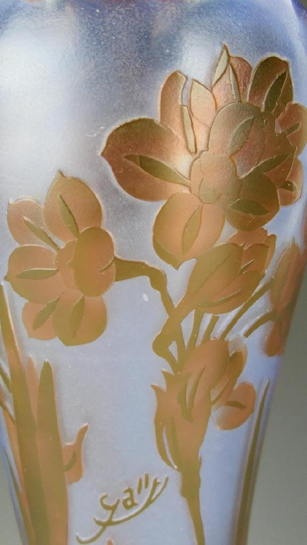 GALLE FLORAL CUT CAMEO GLASS BLUE GROUND VASE - 3