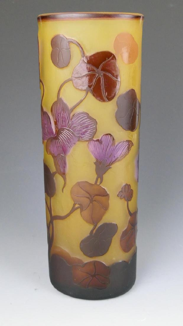 GALLE CAMEO GLASS FLORAL TRIANGULAR VASE - 5