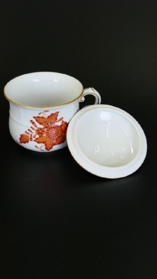 "13pc HEREND ""CHINESE BOUQUET RUST"" CUPS & PLATTER - 4"