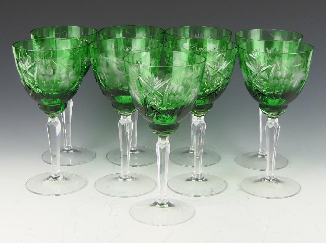 9 BOHEMIAN EMERALD CUT GLASS WINE STEM GLASSES