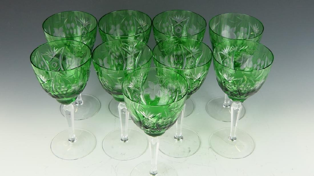 9 BOHEMIAN EMERALD CUT GLASS WINE STEM GLASSES - 2