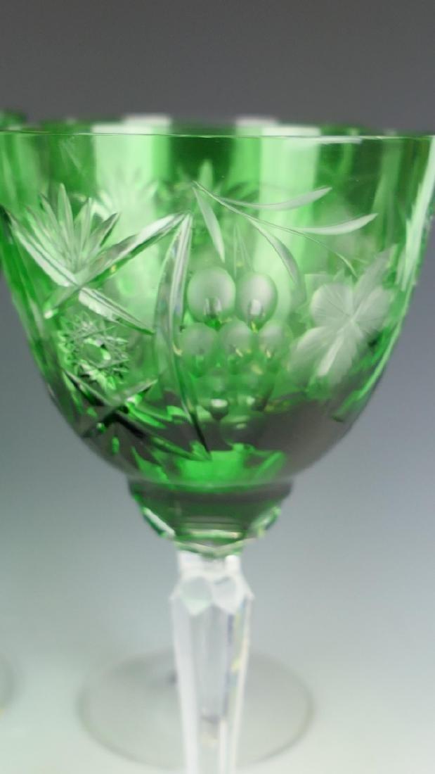 9 BOHEMIAN EMERALD CUT GLASS WINE STEM GLASSES - 3