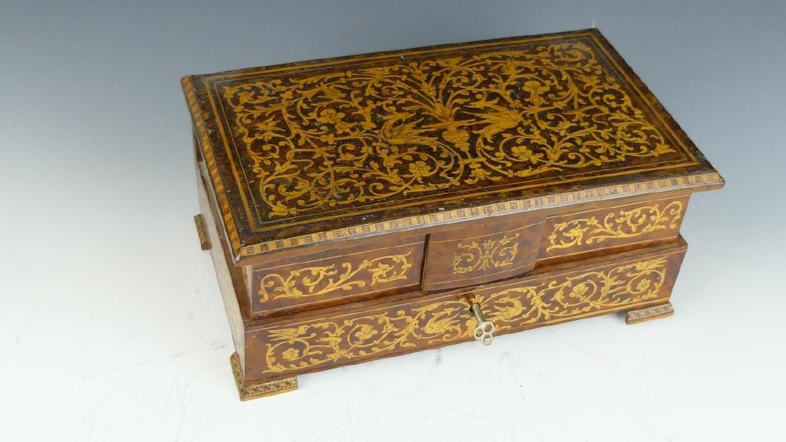 ENGLISH MARQUETRY WOOD JEWELRY BOX - 2