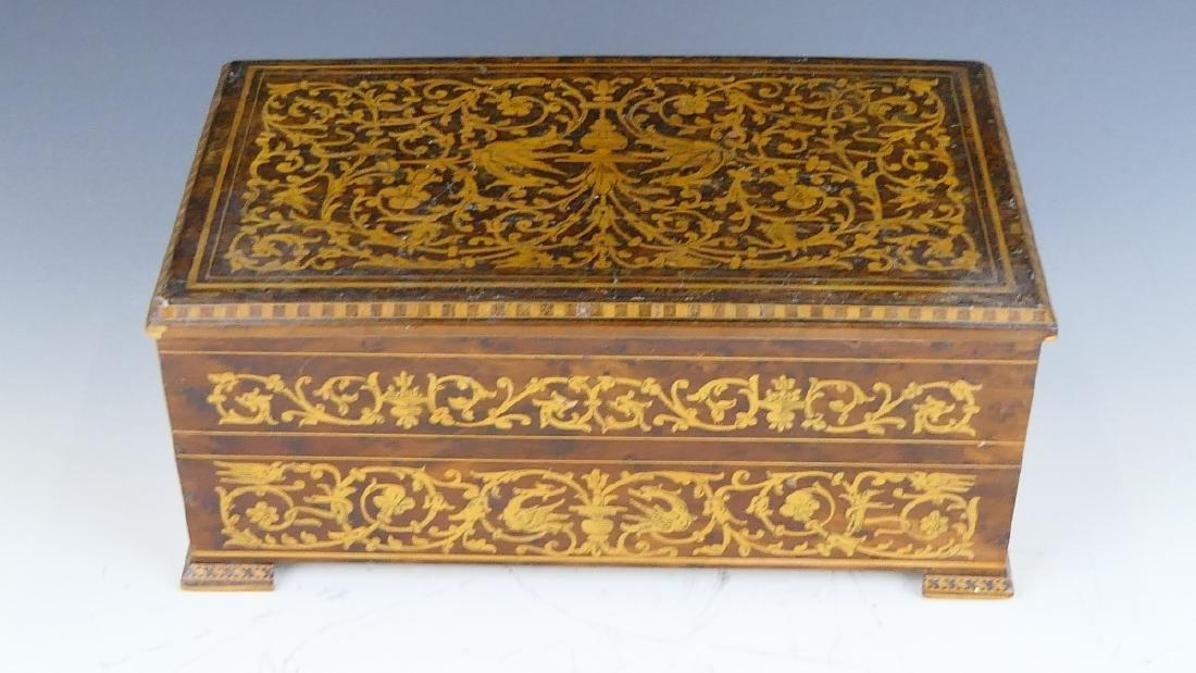 ENGLISH MARQUETRY WOOD JEWELRY BOX - 4