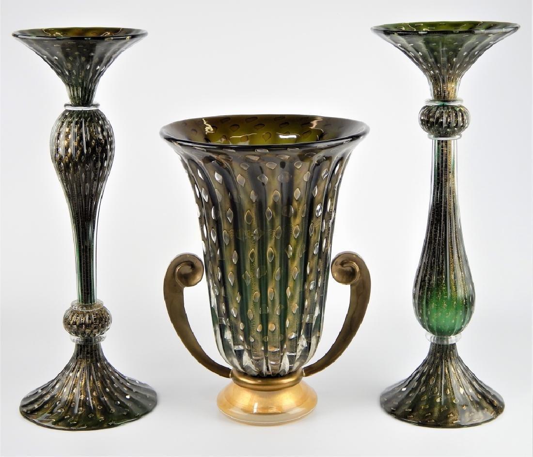 3pc IDEA MURANO EMERALD GLASS GARNITURE SET