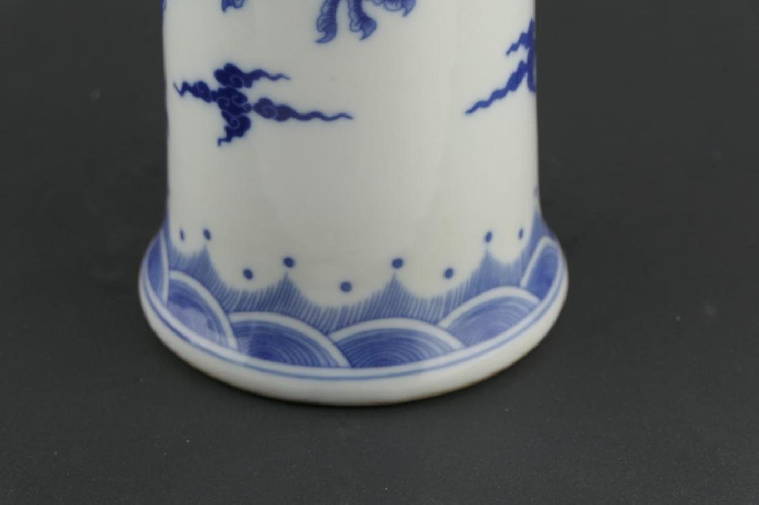 CHINESE KANGXI BLUE & WHITE DRAGONS GU VASE - 4