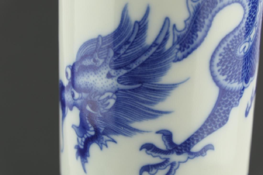 CHINESE KANGXI BLUE & WHITE DRAGONS GU VASE - 5