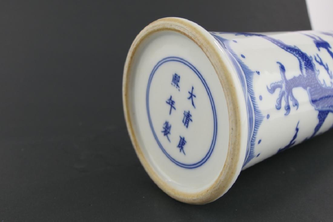CHINESE KANGXI BLUE & WHITE DRAGONS GU VASE - 7