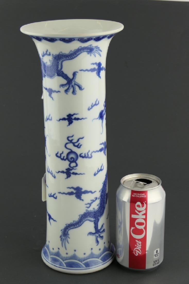CHINESE KANGXI BLUE & WHITE DRAGONS GU VASE - 8