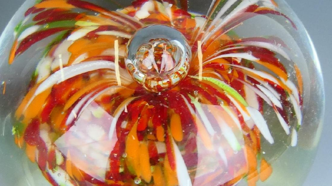5 VINTAGE STUDIO ART GLASS PAPERWEIGHT - 1 SIGNED - 2