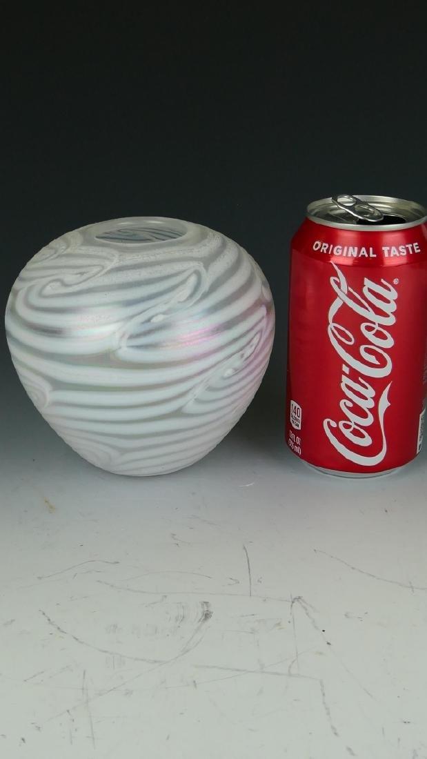 SIGNED STUDIO ART GLASS IRIDESCENT CABINET VASE - 4
