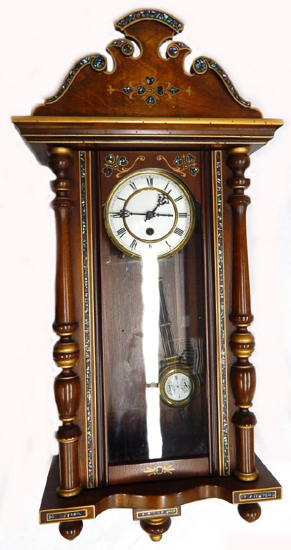 ANTIQUE ABALONE INLAY WOODEN CASE WALL CLOCK