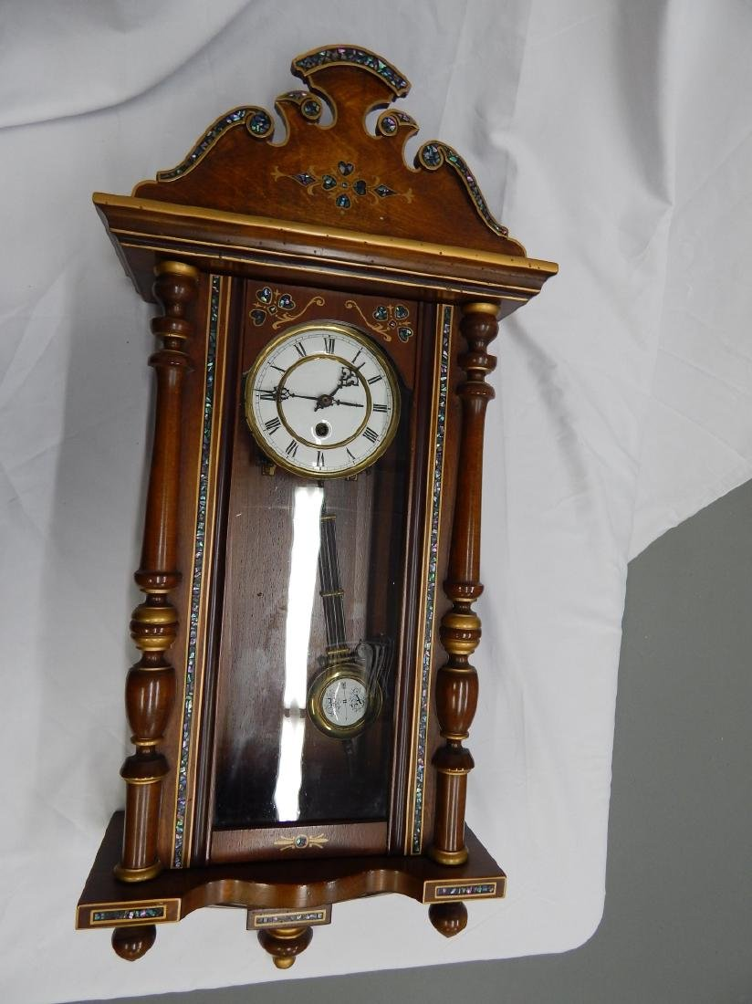 ANTIQUE ABALONE INLAY WOODEN CASE WALL CLOCK - 2