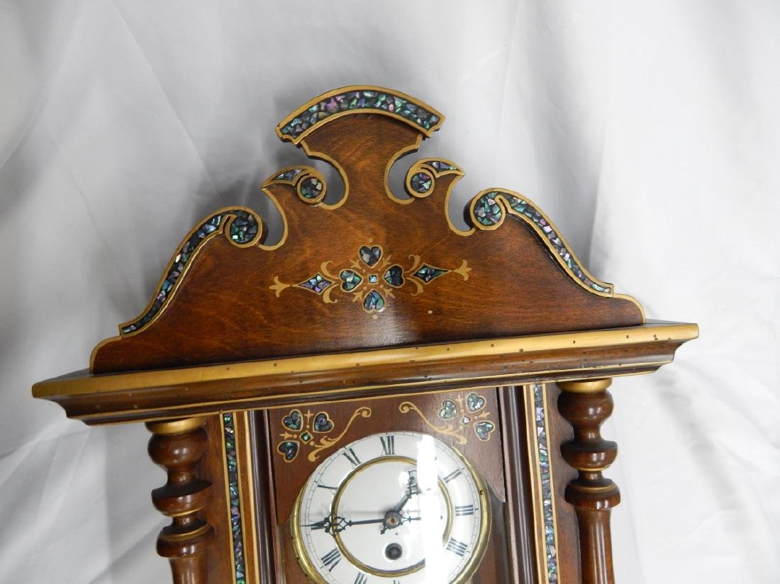 ANTIQUE ABALONE INLAY WOODEN CASE WALL CLOCK - 3