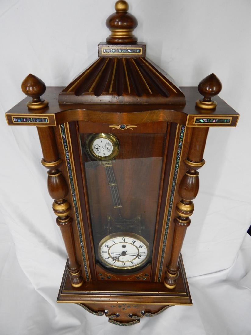 ANTIQUE ABALONE INLAY WOODEN CASE WALL CLOCK - 5