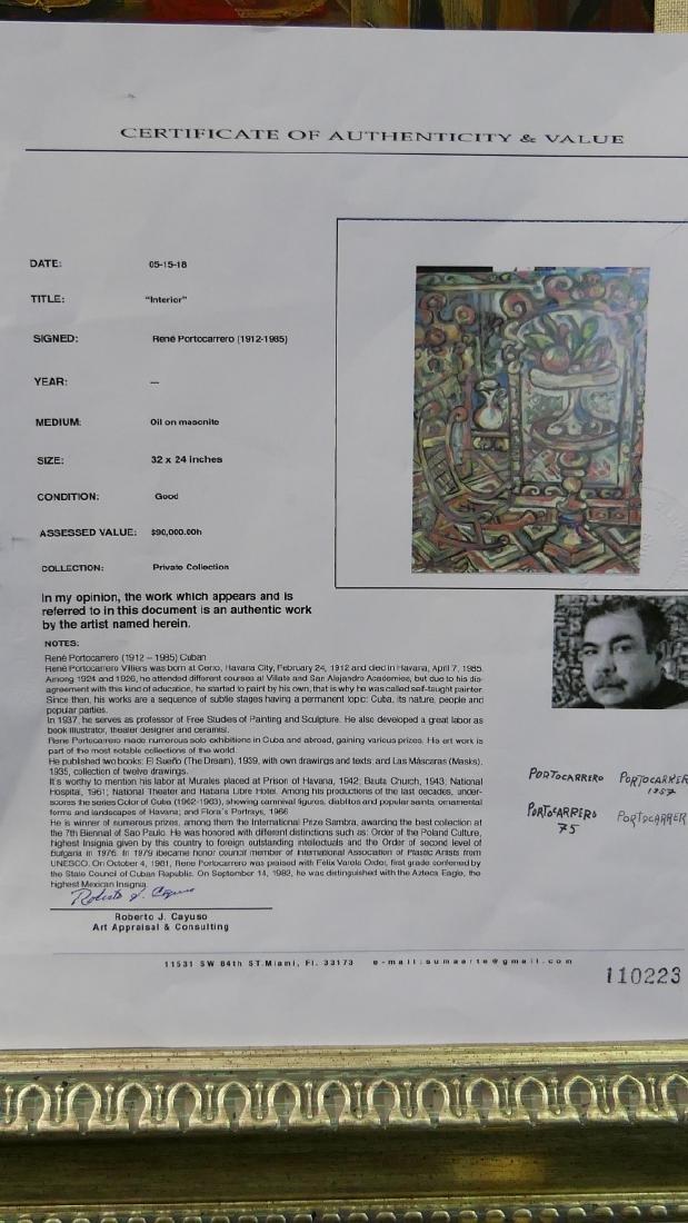 """RENE PORTOCARRERO (CUBA 1912-1985) """"INTERIOR"""" OIL - 6"""