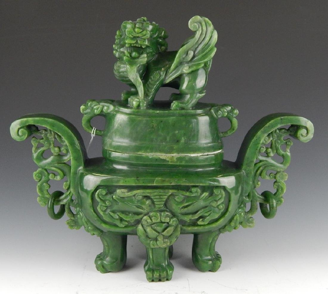 HEAVY CHINESE NEPHRITE JADE FOO LION COV'D URN