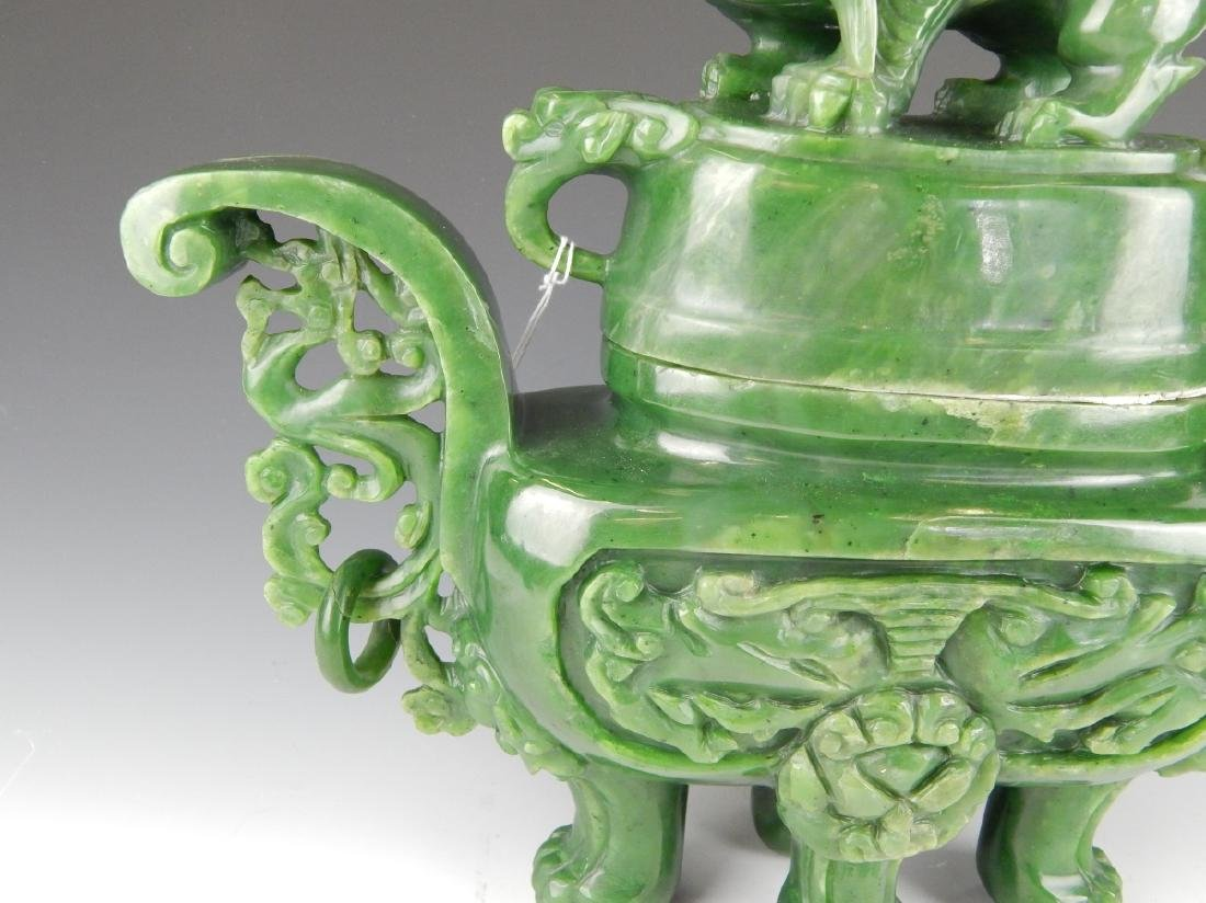 HEAVY CHINESE NEPHRITE JADE FOO LION COV'D URN - 3