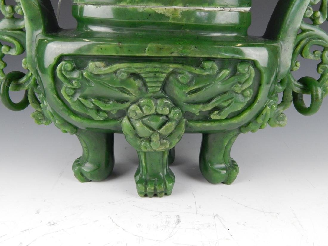 HEAVY CHINESE NEPHRITE JADE FOO LION COV'D URN - 4