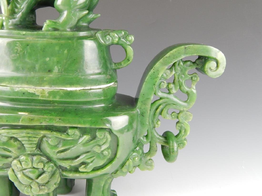 HEAVY CHINESE NEPHRITE JADE FOO LION COV'D URN - 5