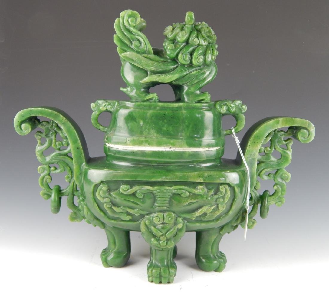 HEAVY CHINESE NEPHRITE JADE FOO LION COV'D URN - 7