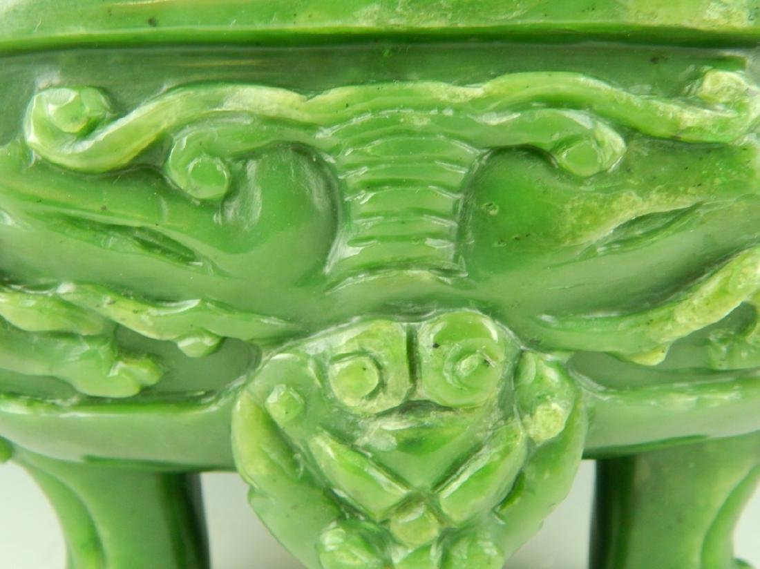 HEAVY CHINESE NEPHRITE JADE FOO LION COV'D URN - 8