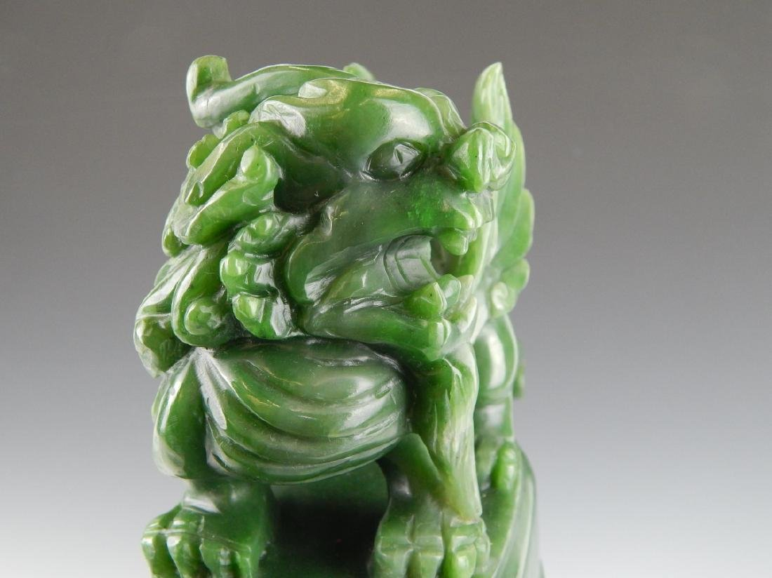 HEAVY CHINESE NEPHRITE JADE FOO LION COV'D URN - 9