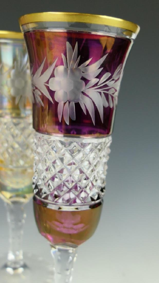 6 CONTINENTAL CUT TO CLEAR STEM CHAMPAGNE GLASSES - 2