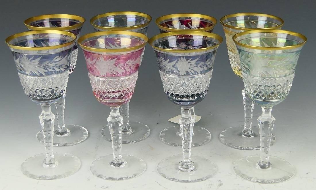 8 CONTINENTAL CUT TO CLEAR STEM WINE GLASSES