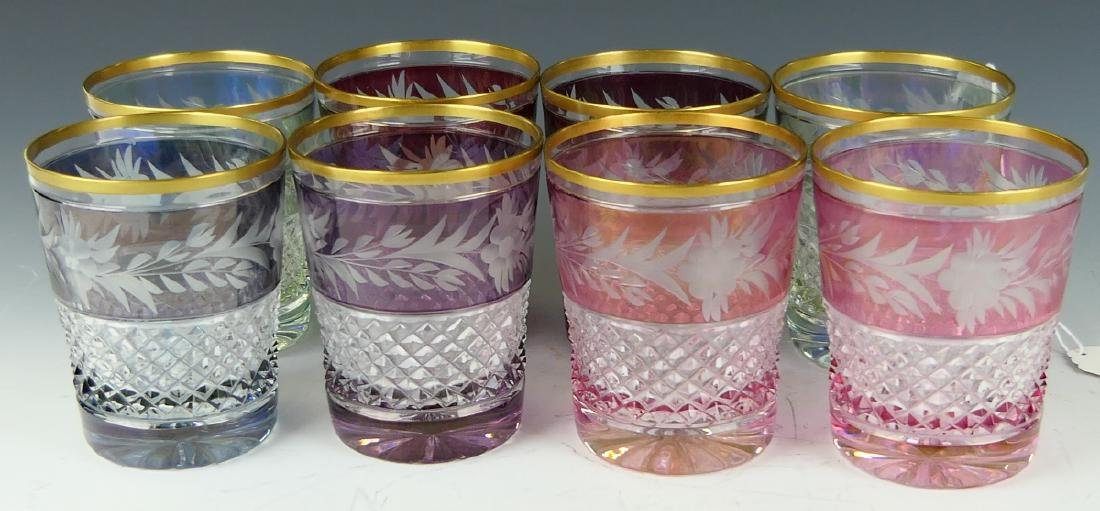 8 CONTINENTAL CUT TO CLEAR FLORAL TUMBLER GLASSES