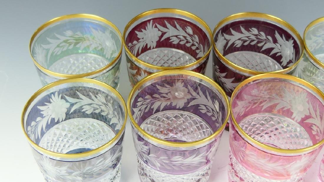 8 CONTINENTAL CUT TO CLEAR FLORAL TUMBLER GLASSES - 3