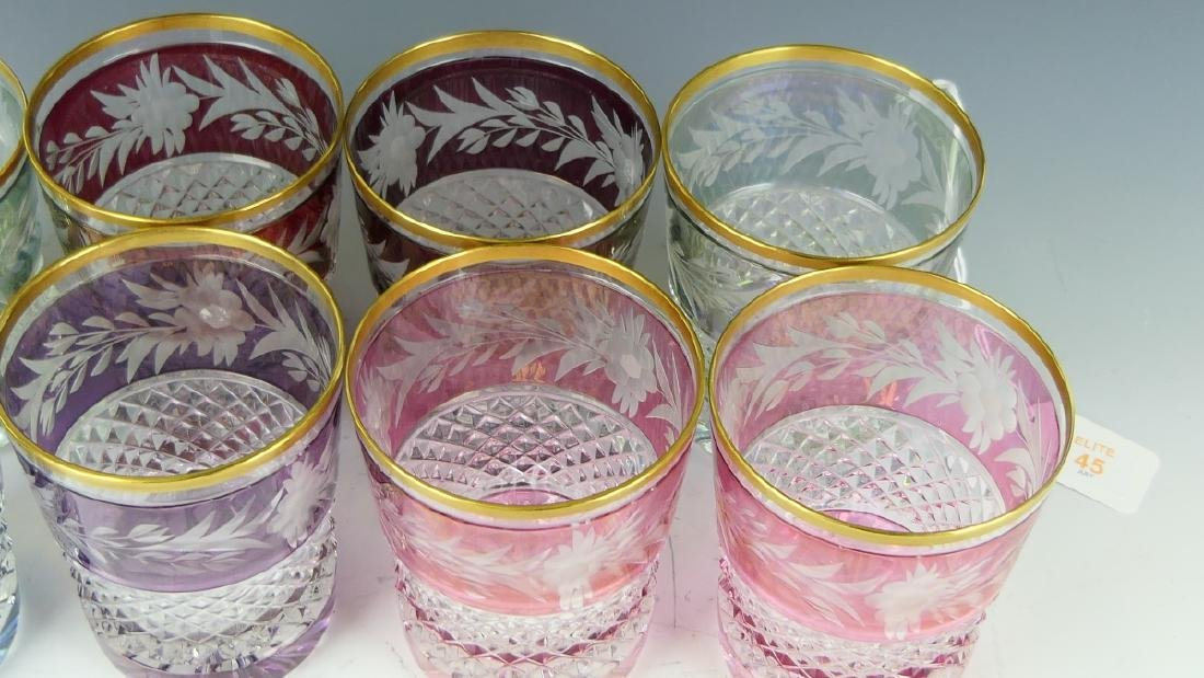 8 CONTINENTAL CUT TO CLEAR FLORAL TUMBLER GLASSES - 4