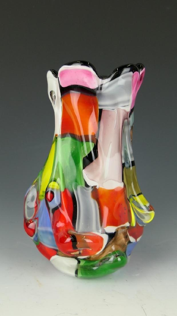 VINTAGE MURANO MULTI-COLOR ART GLASS VASE - 2