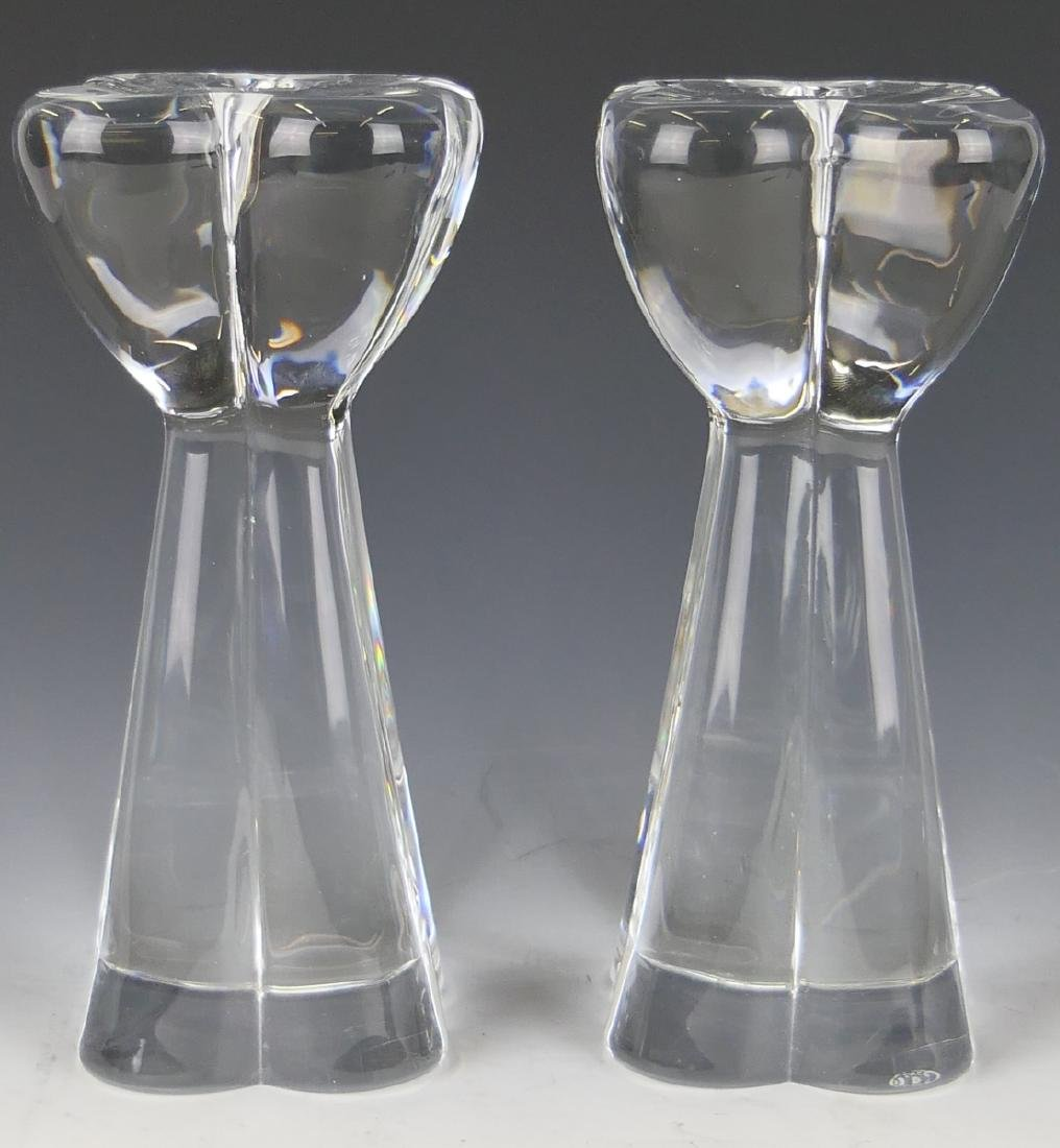 PAIR OF BACCARAT FRENCH CLEAR CRYSTAL CANDLESTICKS