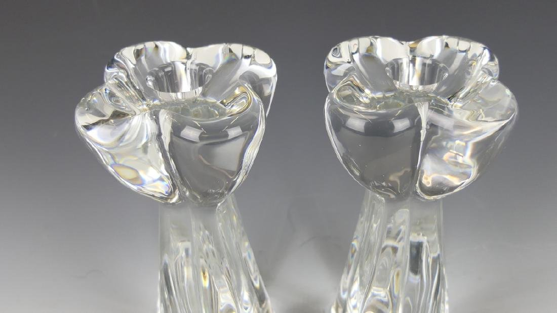 PAIR OF BACCARAT FRENCH CLEAR CRYSTAL CANDLESTICKS - 2