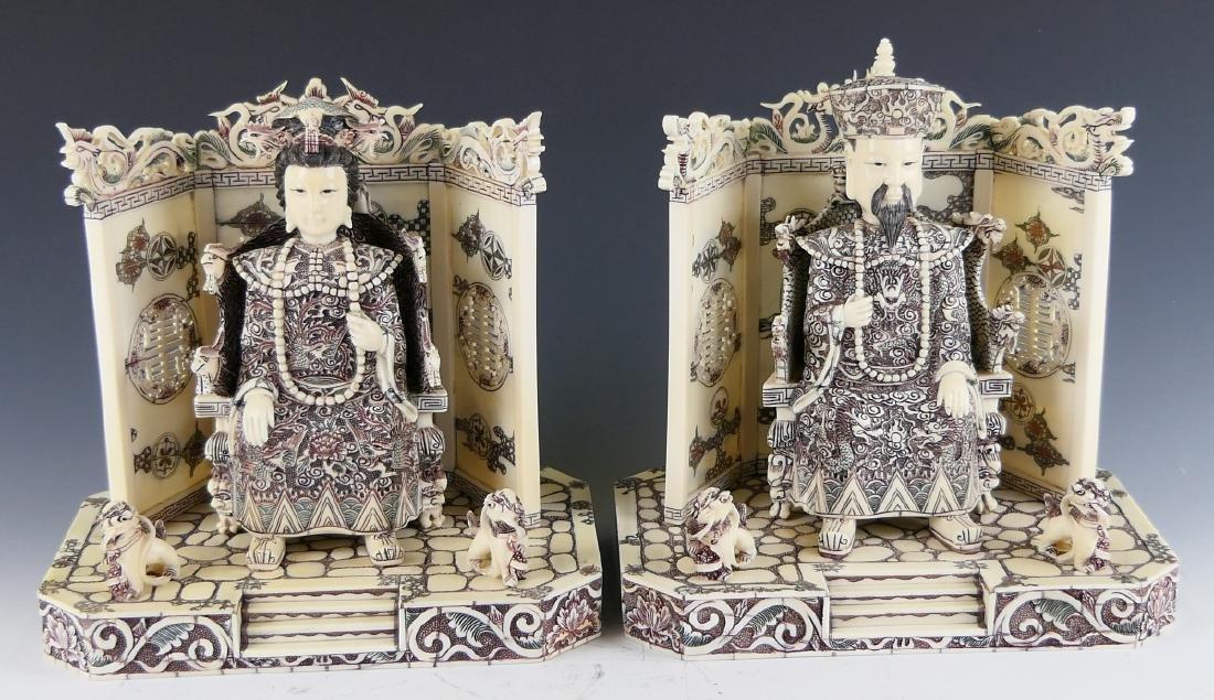 CHINESE CARVED BONE EMPEROR & EMPRESS FIGURES