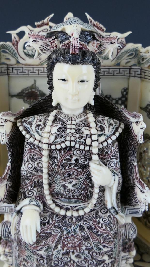 CHINESE CARVED BONE EMPEROR & EMPRESS FIGURES - 3