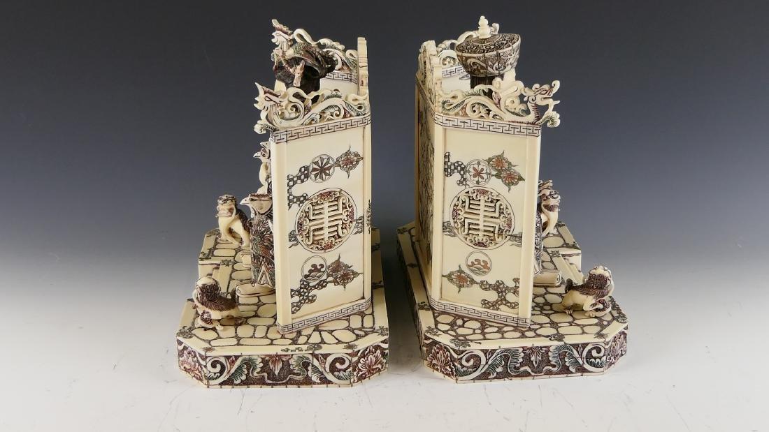 CHINESE CARVED BONE EMPEROR & EMPRESS FIGURES - 6